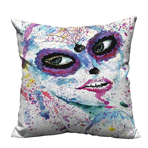 (YouXianHome Throw Pillow Cover for Sofa Halloween Lady with Sugar Skull Make Up Creepy Dead Face Gothic Woman Textile Crafts (Double-Sided Printing) 31.5x31.5)