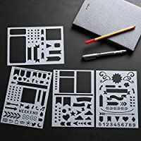 Dividers Icons Fits Leuchtturm /& Moleskine A5 Notebooks Bullet Journal Stencil Set 4 Pack Best Used with Huhuhero Fineliners /& Sakura Micron Pens Banners 5 X 7 inches