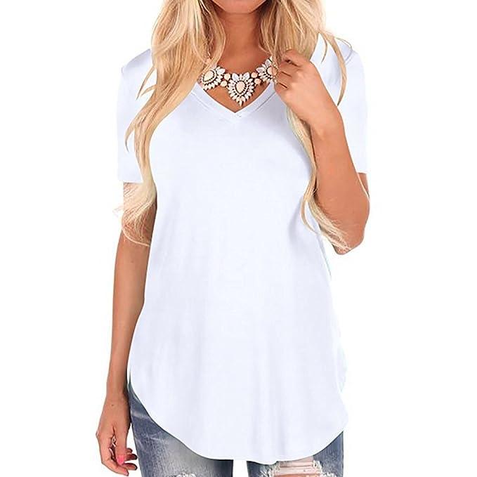 5edb2bcae9718 T-Shirt Manches Courtes Femme Basique Simple Chemise Col V Blouse Ete  Grande Taille Tunique