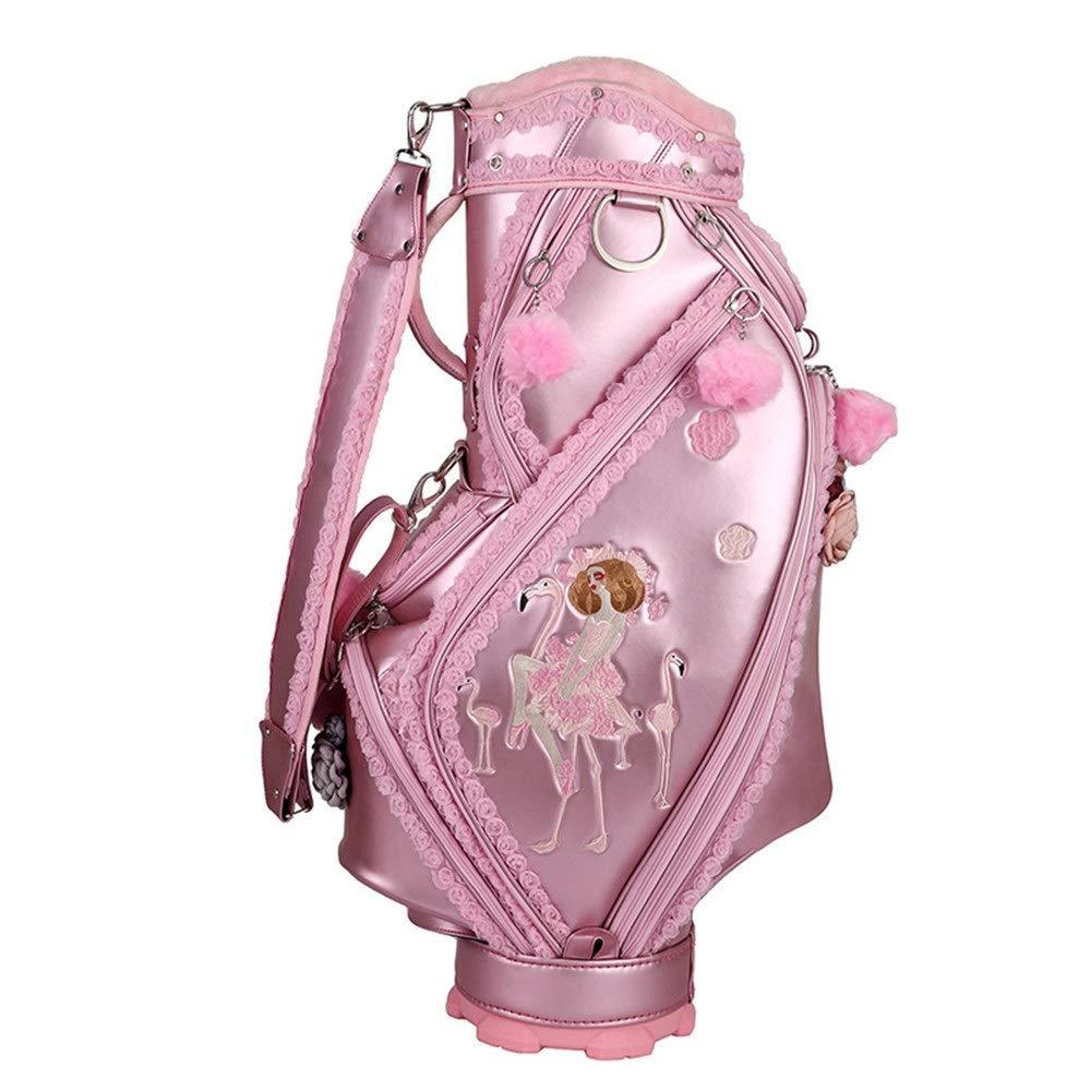 超軽量 大容量 ゴルフ クラブ ケース 女性のゴルフバッグ刺繍かわいいゴルフ大人ゴルフアクセサリーピンクゴルフバッグバケットバッグ大人ゴルフアクセサリースポーツ乗馬ハイブリッドゴルフスタンドバッグ (色 : ピンク, サイズ : ワンサイズ) ピンク ワンサイズ
