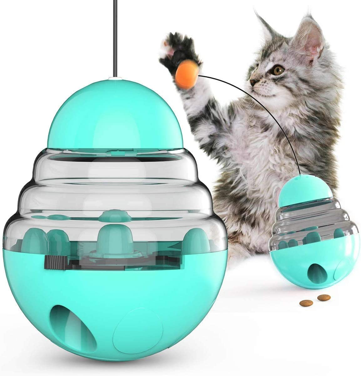 Cat Toy Leakage Food Ball Toys Cat Tumbler Toy Ball Kitten Roly-Poly Treat Toys, Kitty Slow Food Dispensing Puzzle Toy