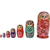 Baoblaze 7 Pieces/Set Wooden Female Russian Nesting Dolls Matryoshka Doll Collectible
