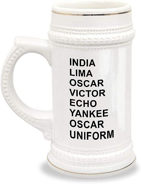 Amazon Com Phonetic Alphabet Beer Mug Military Code Gift India Lima Oscar Victor Echo Yankee Uniform Beer Mugs Steins