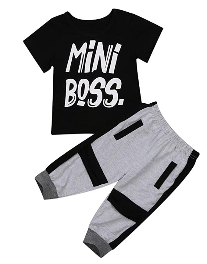 55fca85dbe3ba Amazon.com  BANGELY 2Pcs Toddler Kids Boys Outfits Mini Boss Letters Printed  T-Shirt+Harem Pants Casual Set Clothes  Clothing