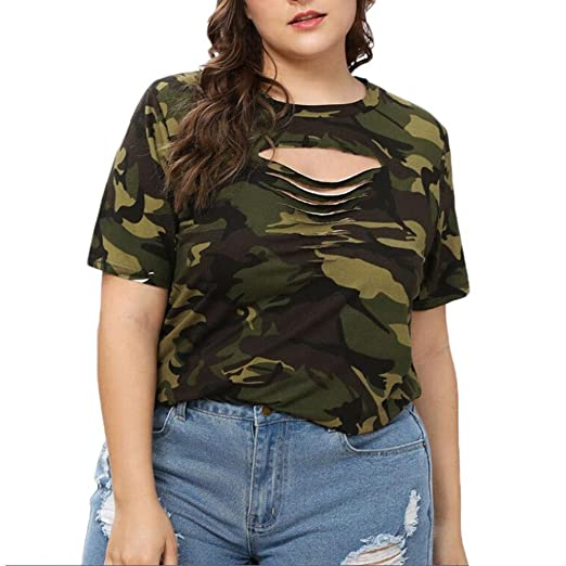 68232d8c7a6 Plus Size Camouflage Tops 2018 Fashion Women Casual O-Neck Hollow Out Top T- Shirts at Amazon Women s Clothing store
