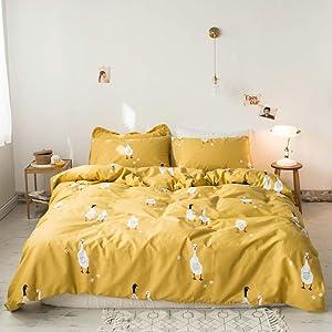 AMWAN Yellow Ducks Cartoon Duvet Cover Set Twin 100% Cotton Kids Bedding Set for Boys Girls Modern Reversible Cartoon Comforter Cover Set Cartoon Children Bedding Collection with 2 Pillowcases