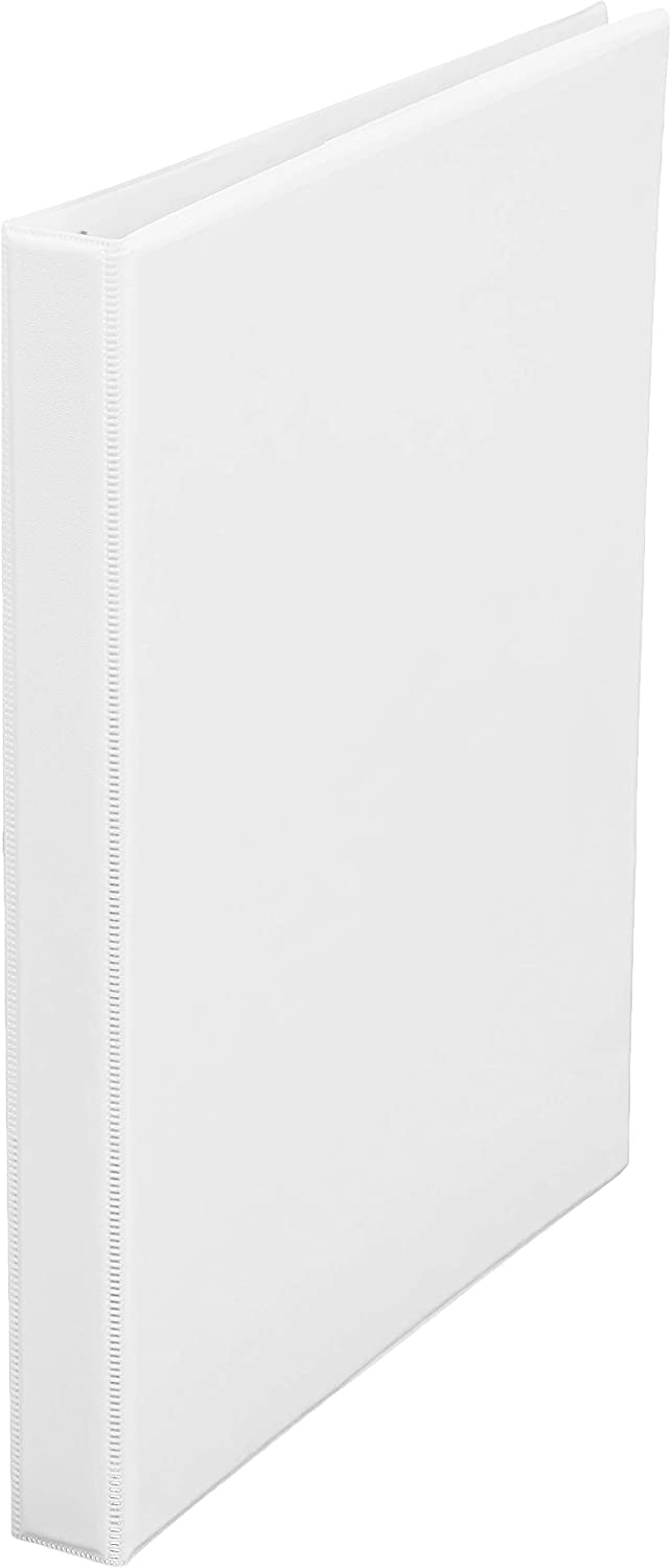 AmazonBasics 1/2-Inch Round Ring Binder, White, View, 12-Pack
