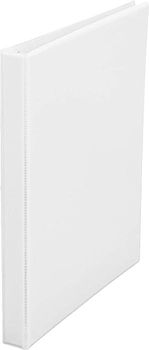 AmazonBasics 1/2-Inch Round Ring Binder, White, View, 12-Pack