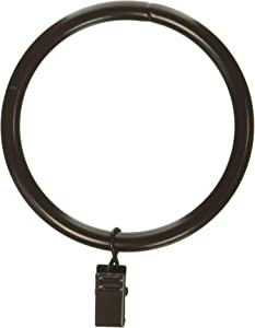 Rod Desyne 2-1/2 inch Curtain Rings w/Clip, Cocoa