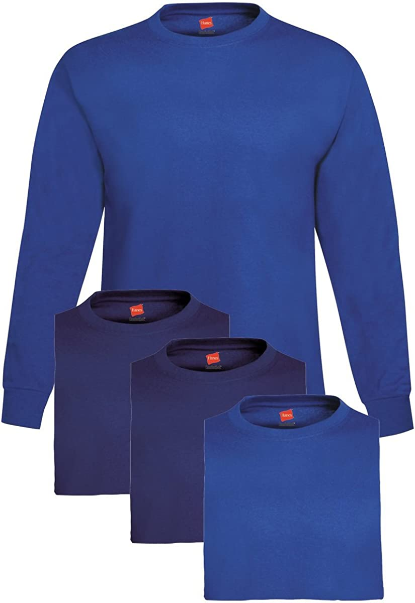 Hanes Mens 4 Pack Long Sleeve T-Shirt 2 Navy//2 Royal