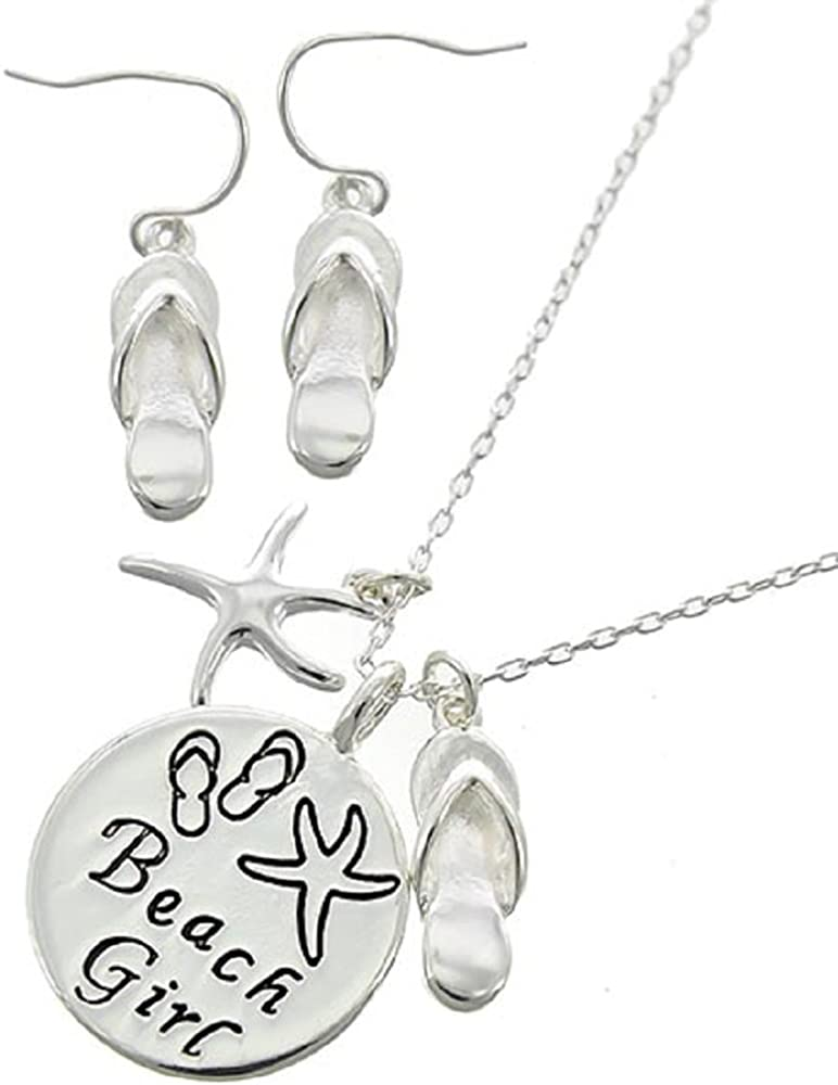Silver Star Fish /& Flip Flop Beach GirlSea Life Necklace Set Gingers Jewels