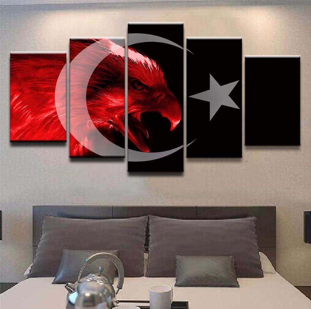 ycwyf 5 st/ücke der t/ürkischen Flagge leinwand wandbild Wohnzimmer Schlafzimmer Dekoration Moderne Kunst rahmenlose-20x35cmx2/_20x45cmx2/_20x55cmx1/_