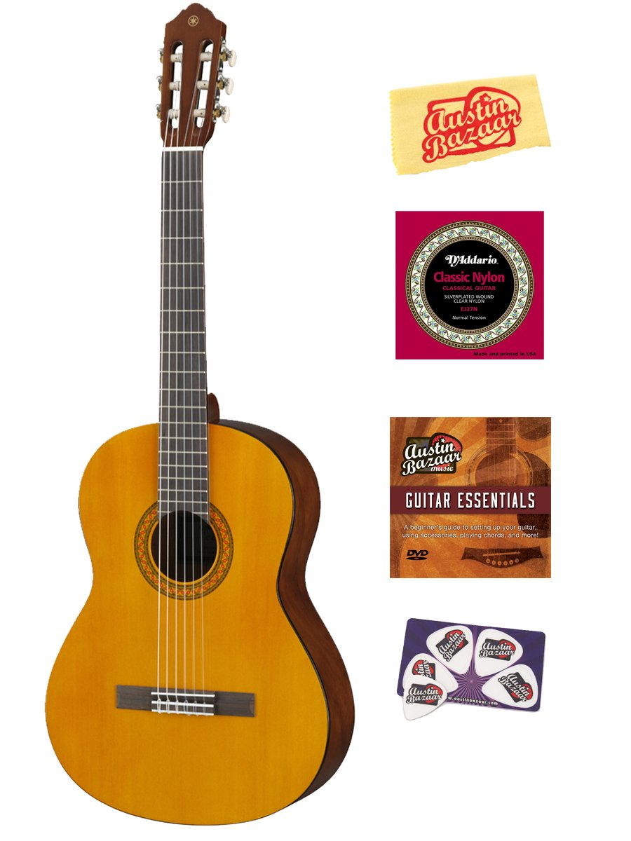 yamaha c40 nylon string acoustic guitar bundle with instructional dvd strings pick card and. Black Bedroom Furniture Sets. Home Design Ideas
