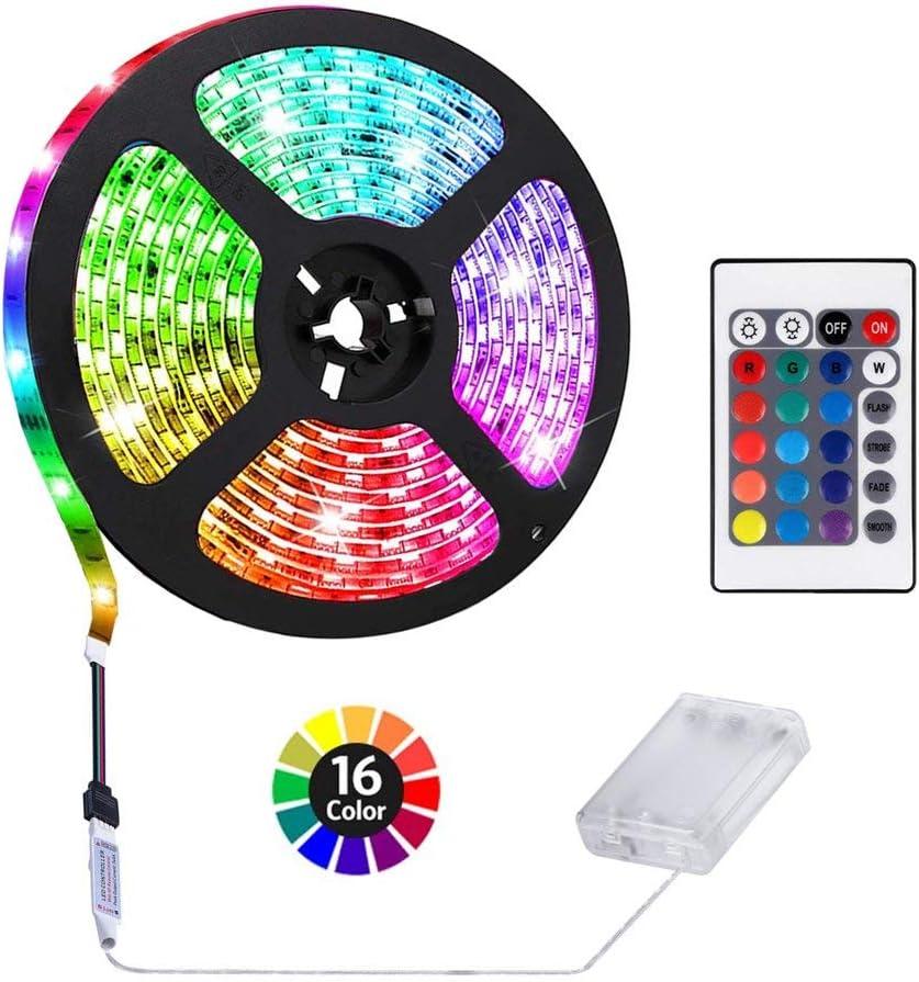 HIKENRI 1M/3.3ft Battery Powered LED Strip Lights, Flexible Color Changing RGB LED Light Strip, TV Backlight Background Lighting
