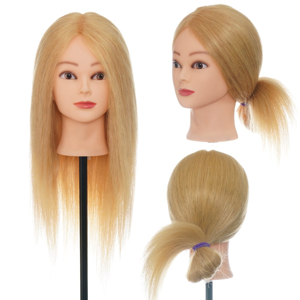 ViogrIA 22 90% Gold REAL HUMAN HAIR Mannequin head Practice Training Head Cosmetology Mannequin Head Manikin Doll Head with Clamp & Braiding Tool