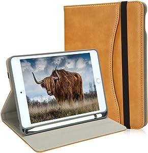NewiPadMiniCase5thGenerationwithPencilHolder-MiniiPad4LeatherStandFolio-WalletPocket-HandleStrap-SoftTPUBackCoverAutoSleep/Wakefor7.9InchiPadMini4/5(Camel)