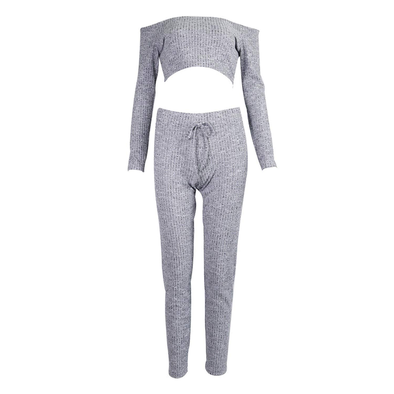 54016e7f5597 Grey Two Piece Set Women Tracksuit Off Shoulder T Shirt Crop Top Pencil  Pants Leggings Set Bodycon Slim Suit at Amazon Women's Clothing store: