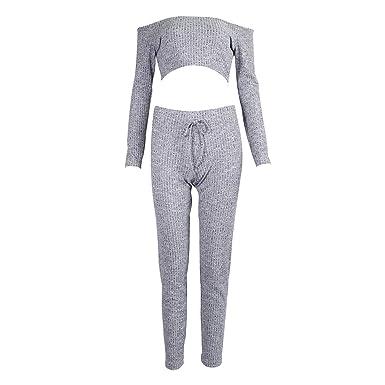 18a055ea7b5d Grey Two Piece Set Women Tracksuit Off Shoulder T Shirt Crop Top Pencil  Pants Leggings Set