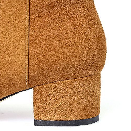 Handmade Women's Suede Heel Seven Fashion Ankle Elegant Boot Leather Toe Square Nine Brown Block tqaFvwgSS