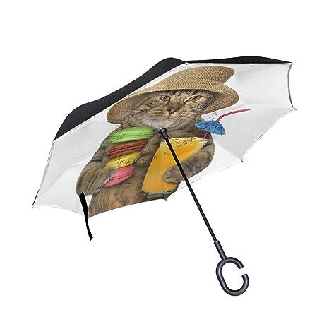 659fc5ddbdc3 Amazon.com : ATZUCL Cat with Macaron Inverted Umbrella Car Folding ...