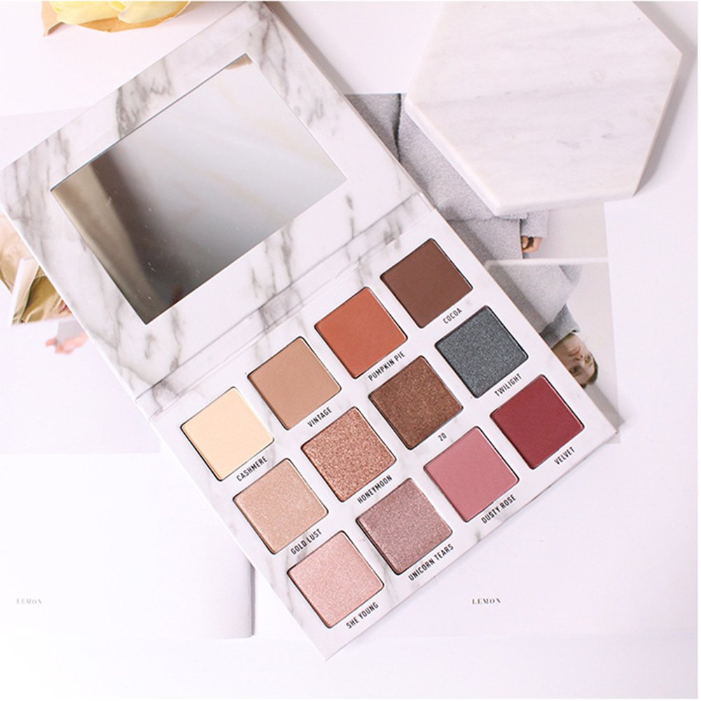 Yiwa 12 Colors Eyeshadow Palette Marble Exquisite Cosmetics Gift