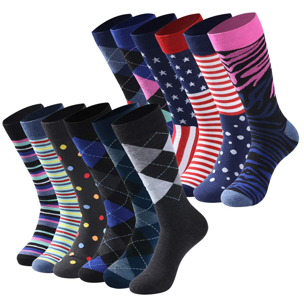 Diwollsam Dress Socks Men Pack Business, Bright Colorful Assorted Patterned Combed Summer Sport Basketball Tennis Casual Party Wedding Socks, 12 Pairs(Assorted Mix, L) by diwollsam