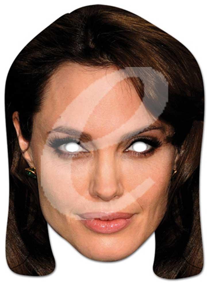 Angelina Jolie Prominentenmaske, Papp Maske, aus hochwertigem Glanzkarton mit Augenlöchern, Gummiband - Grösse ca. 30x21 cm empireposter