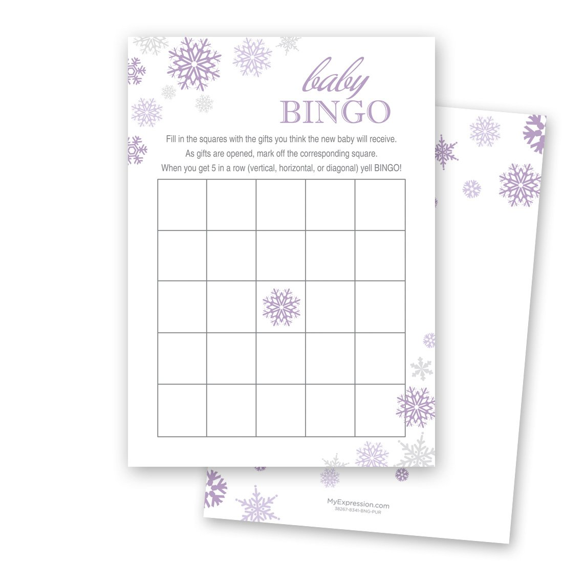 MyExpression.com 24 Cnt Purple Snowflakes Baby Shower Bingo Cards by MyExpression.com