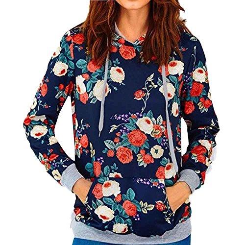 (Kinghard Womens Rose Print Loose Casual Long Sleeve Hoodie Sweatshirt (XXL))