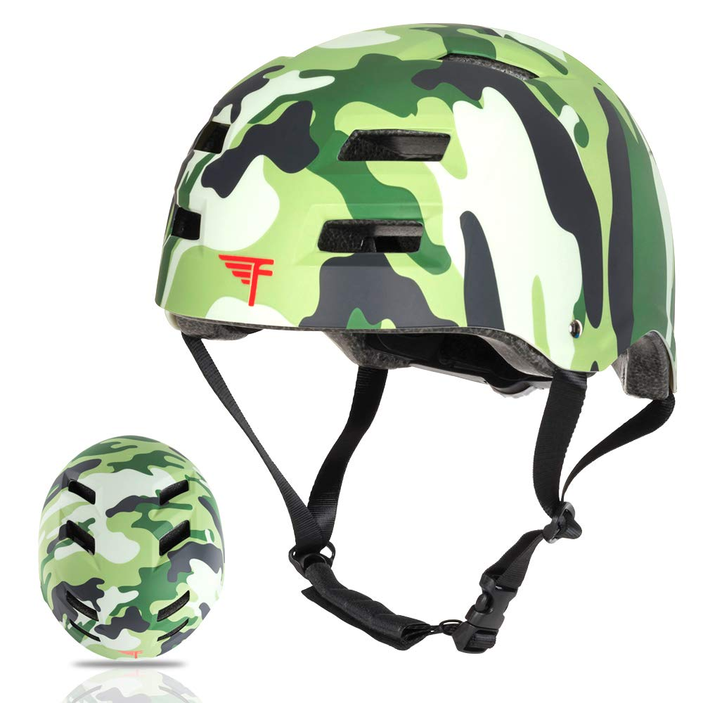 Flybar Dual Certified CPSC Multi Sport Kids & Adult Bike and Skateboard Adjustable Dial Helmet – Multiple Colors & Sizes (Camouflage, M/L)
