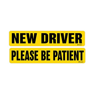 Zone Tech New Driver and Please BE Patient Magnet Reflective Magnetic Vehicle Car Sign: Automotive