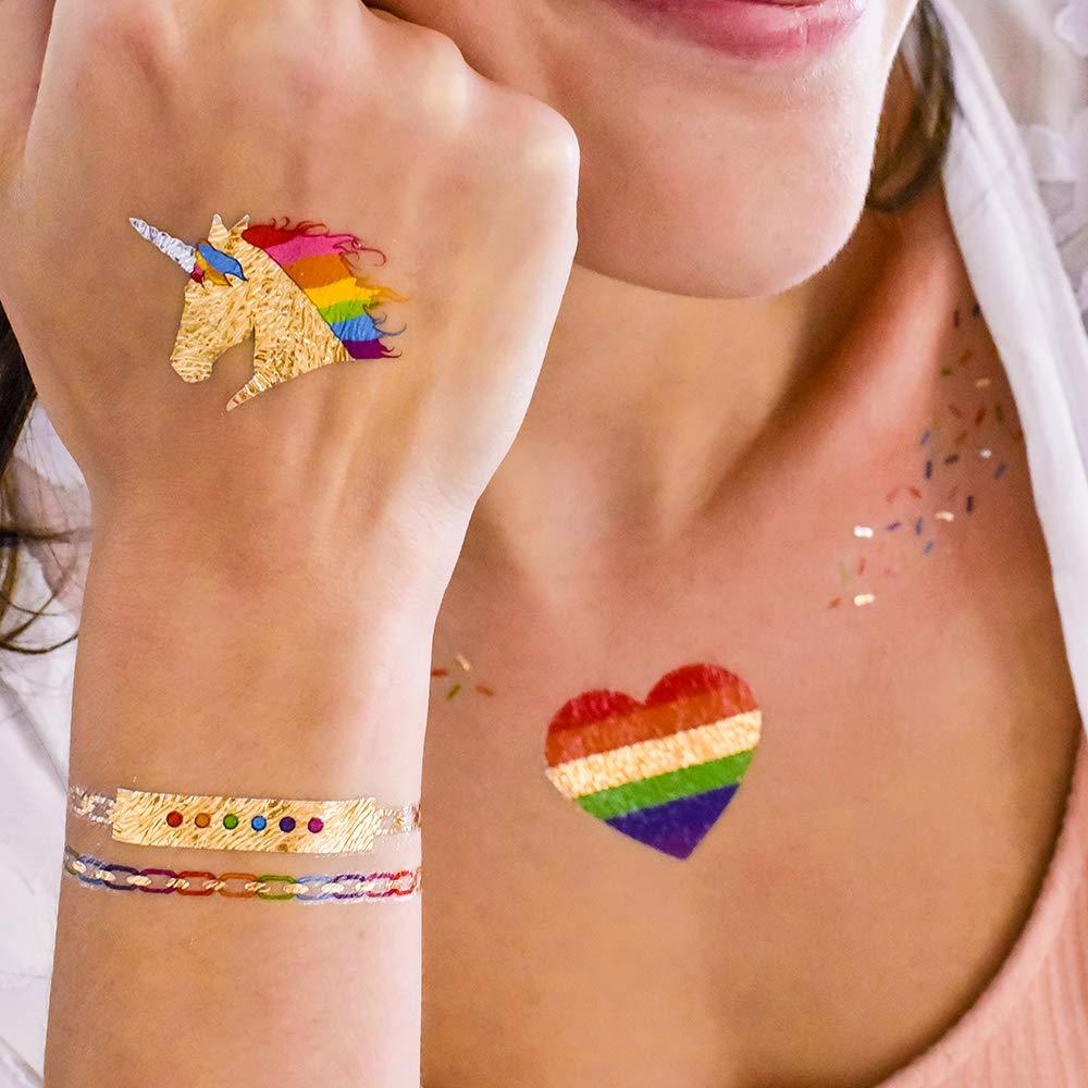 Juego de 25 tatuajes de fiesta de arcoíris, juego de 25 tatuajes ...