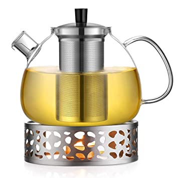 Ecooe 15l Teekanne Mit Stövchen Teekanne Glas Und Teewärmer