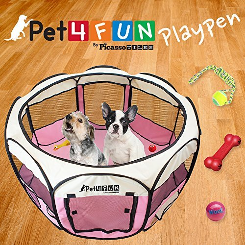 PET4FUN PN935 35″ Portable Pet Puppy Dog Cat Animal Playpen Yard Crates Kennel w/ Premium 600D Oxford Cloth, Tool-Free Setup, Carry Bag, Removable Security Mesh Cover/Shade, 2 Storage Pockets(Pink)