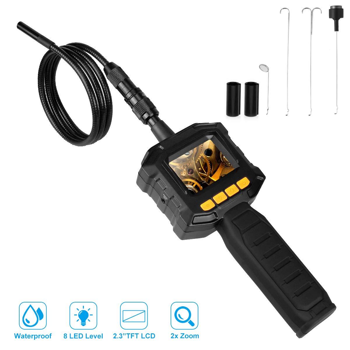Dericam Caméra d'inspection, Endoscope, tuyaux d'arpentage ou Lieu à portée de Main, Tube endoscopique étanche IP67, Objectif TFT-LCD de 2,31 Pouces, boîte à Outils Portable Incluse, IC01, Noir