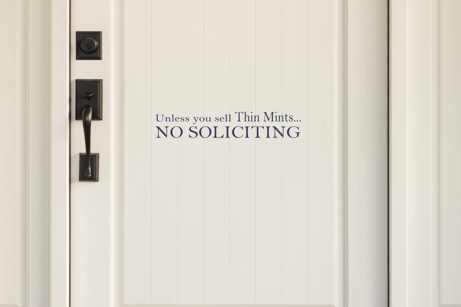 Navy Blue 19 W X 3.75 H Unless You Sell Thin Mints No Soliciting Vinyl Decal