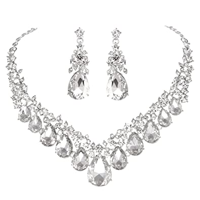 Amazon.com: Youfir Bridal Rhinestone Crystal V Shaped Teardrop