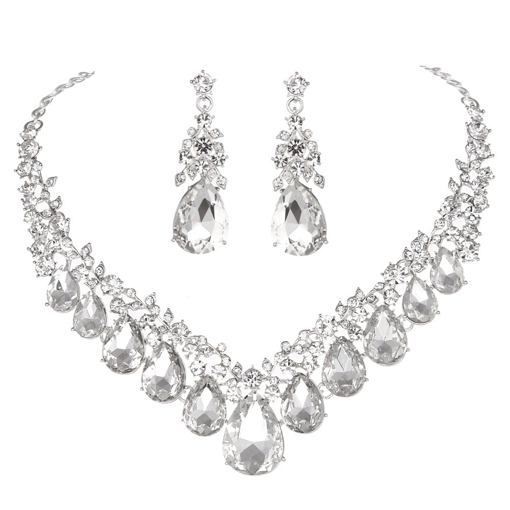 Youfir Bridal Rhinestone Crystal V-Shaped Teardrop Wedding Necklace and Earring Jewelry Sets for Brides Formal Dress(Clear)