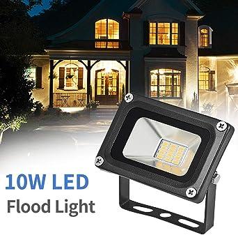 WZTO Focos LED Exterior Proyector 10W 1200lm Ángulo de Proyección 130 ° Impermeable IP67 3200 K Blanco Cálido Foco Proyector Led Led para Jardín, Patio de Juegos, Almacén, Cartelera: Amazon.es: Iluminación