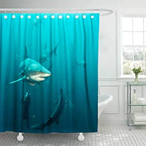 Douecish 72X78 Shower Curtain, Shower Curtain Oceanic Black Tip Shark Cool Shower Curtain with Hooks Waterproof Eco-Friendly Long Shower Curtain for Bathroom