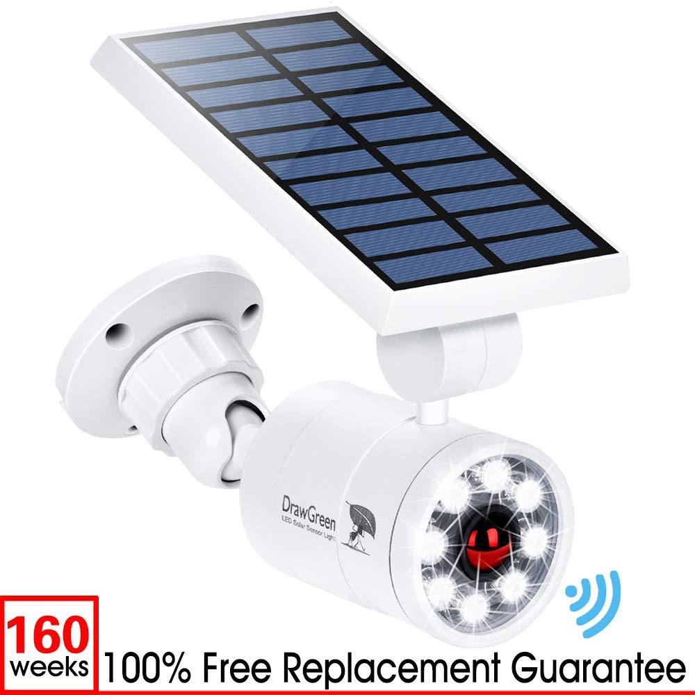 Solar Motion Sensor Light Outdoor Aluminum,1400 Lumens 9-Watt(130W Equi.) LED Spotlight, 2-Mode Solar Security Lights for Garden Driveway Patio, 3-Year Battery Life, 160-Week 100% Replacement Guarante by DrawGreen