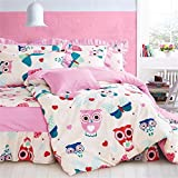 Auvoau Pink Owl Bedding for Girls Butterfly Queen Size Duvet Cover Set 100% Cotton (Full-bed skirt)