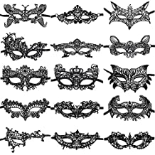 ANIN 15 Packs Women's Sexy Lace Masks Eye-mask for Ball Party Venetian Masquerade Costume - Black