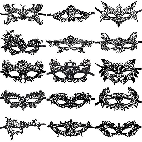 ANIN 15 Packs Women's Sexy Flexible Lace Masks Eye-mask for Ball Party Venetian Masquerade Costume - Black by ANIN