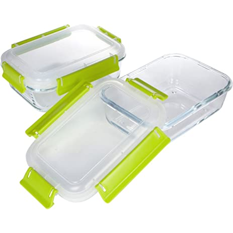 Glass Food Storage Containers With Locking Lids, Oven And Freezer Safe,  2 Pack