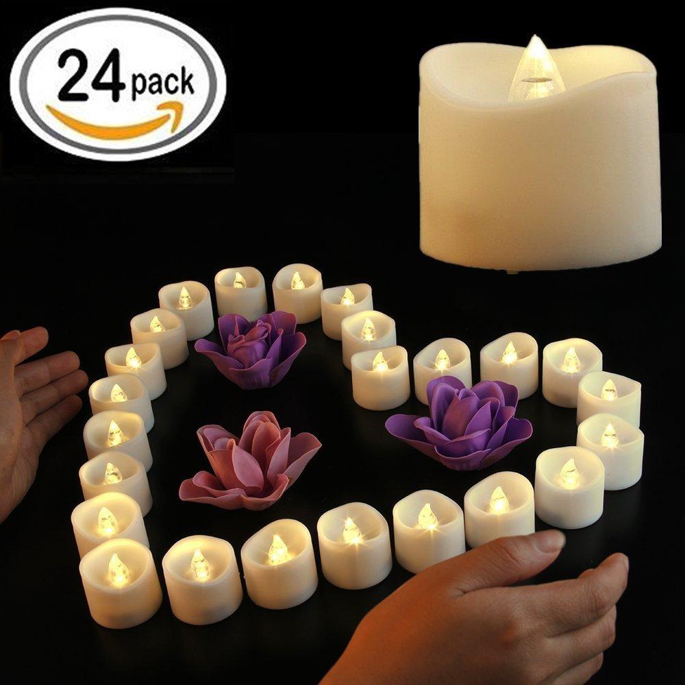 Flameless Candles、電池式LEDティーライトちらつきで暖かいホワイトVotiveキャンドル、ウェディング、誕生日パーティー、クリスマス- 24パック B07CHLL4CN 13279