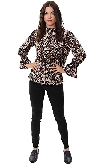 69a8018fb2f2b Veronica M Tops Long Sleeve Smocked Ruffle High Neck Animal Printed B -  Black Brown - XS at Amazon Women s Clothing store