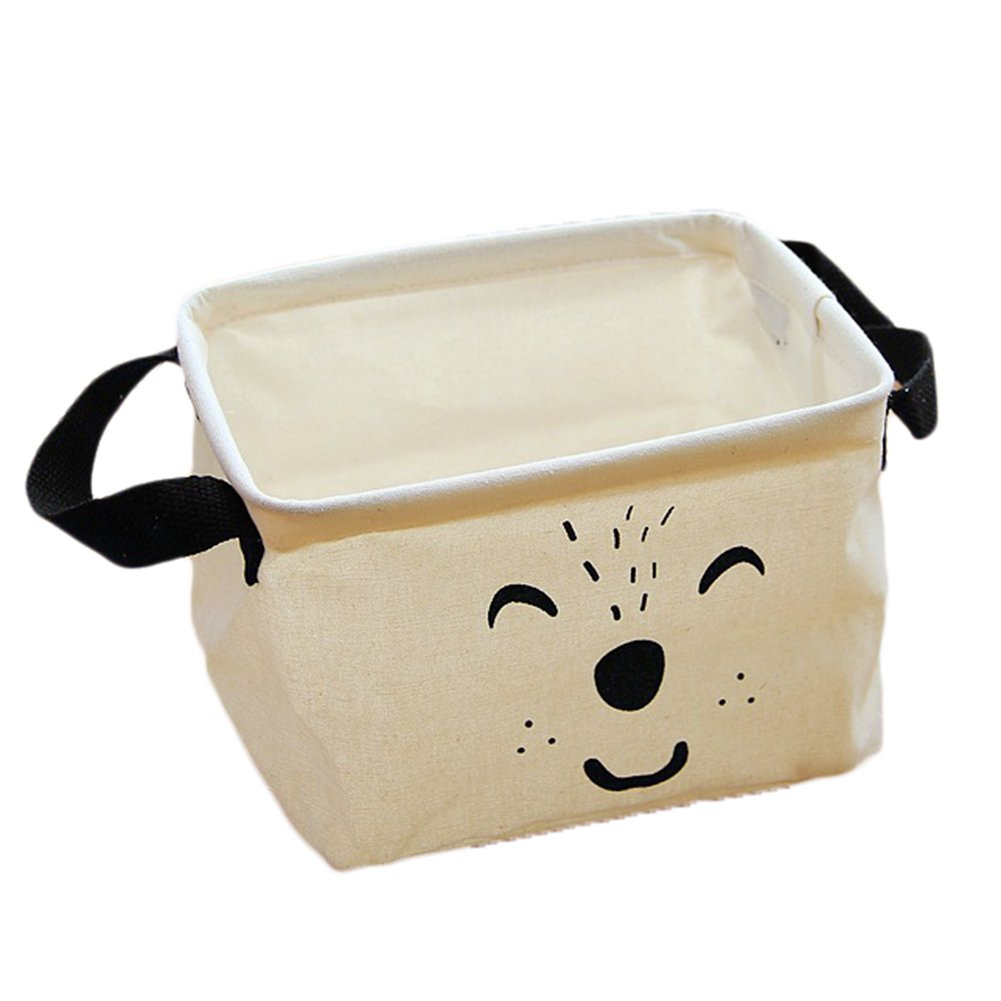 itemer Cute Cartoon caja de almacenaje cestas de almacenamiento de lino y algodón plegable práctico almacenamiento organizador con 2mango ajuste la mayoría de estantes (blanco)