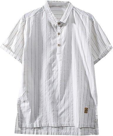 2019 - Camiseta de Manga Corta para Hombre, Color Liso, diseño de Rayas, para Hombre, de algodón y Lino, Talla M ~ 4XL Blanco Blanco 4XL: Amazon.es: Ropa y accesorios