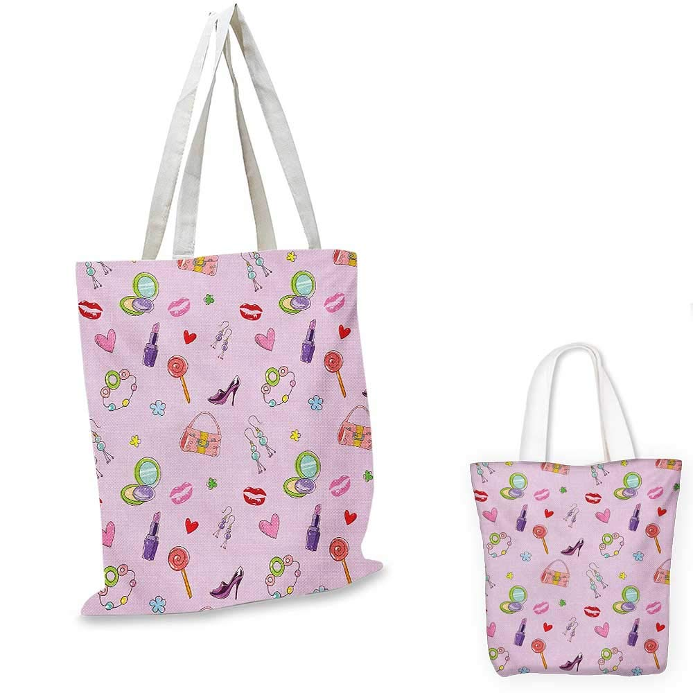 12x15-10 Princess canvas messenger bag Cute Girls Illustration with Fashion Accessories and Makeup Lollipop Flower Print canvas beach bag Multicolor